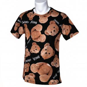 Ανδρική μαύρη κοντομάνικη μπλούζα Teddy Bear  2