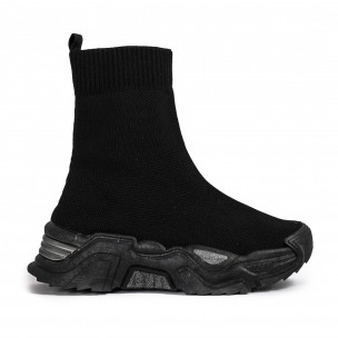 Γυναικεία μαύρα ψηλά sneakers κάλτσα Fashion&Bella