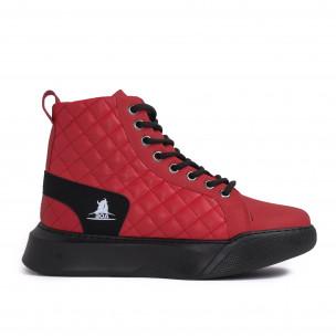 Ανδρικά κόκκινα ψηλά sneakers με καπιτονέ Wagoon