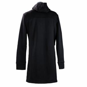Ανδρικό μαύρο φούτερ μακρύ μοντέλο με κουκούλα  2