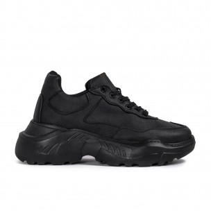 Ανδρικά μαύρα sneakers Chunky All black Knack