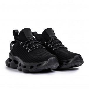 Ανδρικά All black αθλητικά παπούτσια σε υφή 2