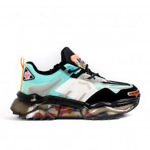 Ανδρικά γαλάζια sneakers με λεπτομέρειες σιλικόνης Sport