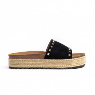 Γυναικείες μαύρες παντόφλες Sweet Shoes
