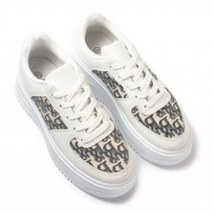 Γυναικεία λευκά sneakers με πλατφορμα 2