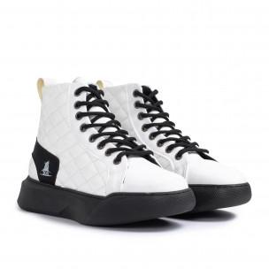 Ανδρικά λευκά ψηλά sneakers με καπιτονέ  2