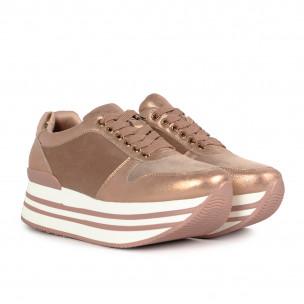 Γυναικεία ροζ sneakers με πλατφόρμα και συνδυασμό υλικών Martin Pescatore 2