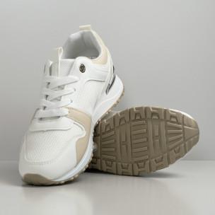 Γυναικεία sneakers σε λευκό και μπεζ 2