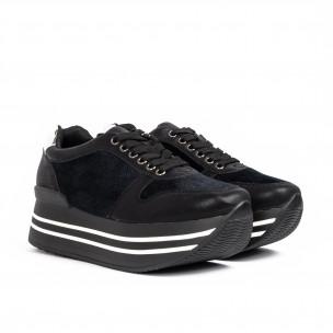 Γυναικεία μαύρα sneakers με πλατφόρμα και συνδυασμό υλικών 2