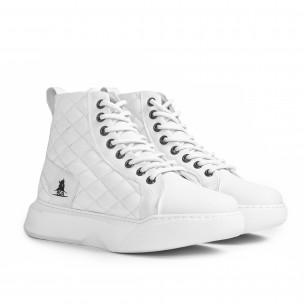 Ανδρικά All white ψηλά sneakers με καπιτονέ  2