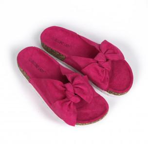 Γυναικείες ροζ παντόφλες με κορδέλα 2