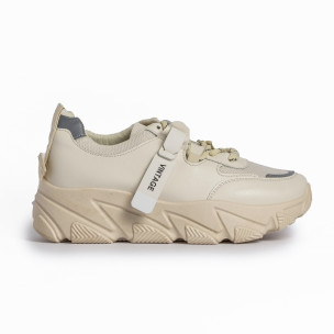Γυναικεία μπεζ αθλητικά παπούτσια FM