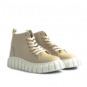 Γυναικεία μπεζ ψηλά sneakers 2
