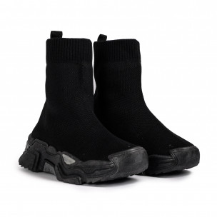 Γυναικεία μαύρα ψηλά sneakers κάλτσα Fashion&Bella 2