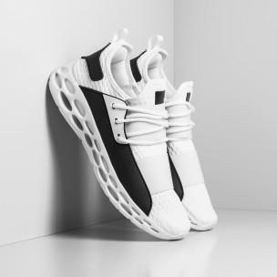 Ανδρικά λευκά αθλητικά παπούτσια κάλτσα με λάστιχο
