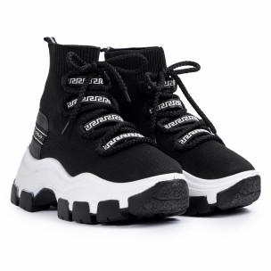 Γυναικεία μαύρα sneakers μποτάκια κάλτσα 2
