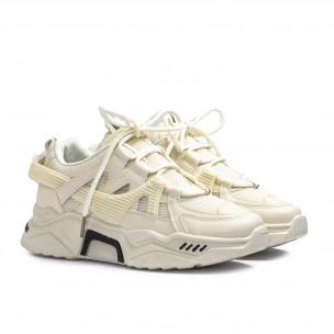 Γυναικεία μπεζ Chunky sneakers με δίχτυ  2