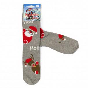 Ανδρικές Χριστουγεννιάτικες κάλτσες γκρι 1 ζευγάρι