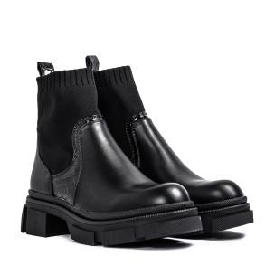 Γυναικεία μαύρα μποτάκια τύπου κάλτσα 2