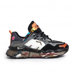 Ανδρικά πολύχρωμα sneakers με λεπτομέρειες σιλικόνης