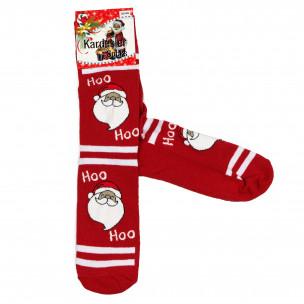 Ανδρικές κάλτσες Χριστουγέννων σε κόκκινο 1 ζευγάρι