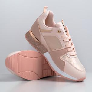 Γυναικεία ροζ sneakers με λεπτομέρεια glitter  2