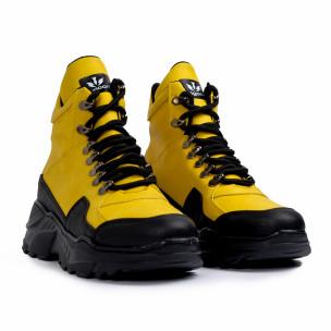 Ανδρικά κίτρινα sneakers Trekking design  2