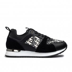 Γυναικεία μαύρα sneakers σε συνδυασμό υλικών