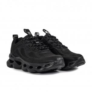 Ανδρικά μαύρα sneakers Rogue Jacquard design Kiss GoGo 2