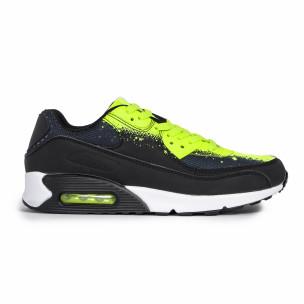 Ανδρικά μαύρα αθλητικά παπούτσια Splash neon