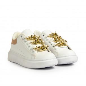 Γυναικεία λευκά sneakers με διακοσμητική αλυσίδα Fashion&Bella 2