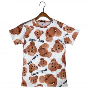 Ανδρική λευκή κοντομάνικη μπλούζα Teddy Bear