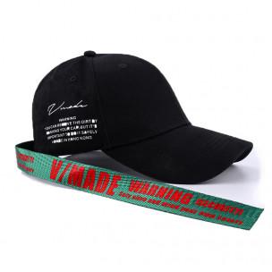 Ανδρικό μαύρο καπέλα μπέιζμπολ με λεπτομέρεια