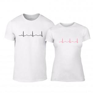 Μπλουζες για ζευγάρια Heartbeats λευκό