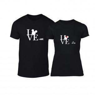Μπλουζες για ζευγάρια Love Him Love Her μαύρο