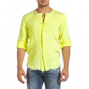 Ανδρικό κίτρινο λινό πουκάμισο Duca Fashion Duca Fashion