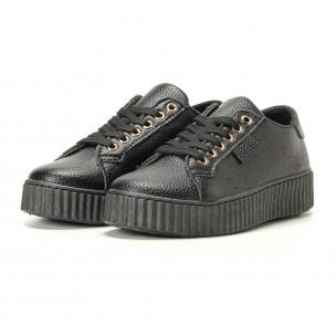 Γυναικεία μαύρα sneakers Ideal Shoes 2