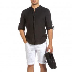 Ανδρικό μαύρο λινό πουκάμισο Duca Fashion