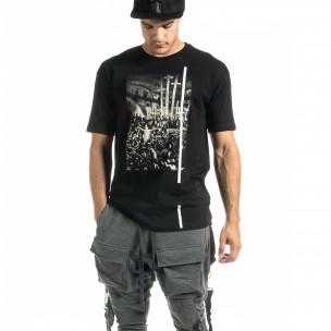 Ανδρική μαύρη κοντομάνικη μπλούζα Black Island Black Island