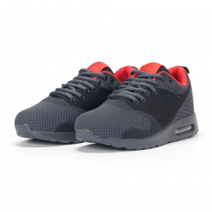 Ανδρικά σκούρο γκρι αθλητικά παπούτσια με σόλες αέρα  2