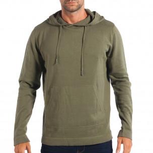 Ανδρικό πράσινο πουλόβερ με κουκούλα RESERVED
