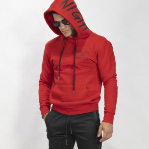 Ανδρικό κόκκινο φούτερ με τσέπη καγκουρό