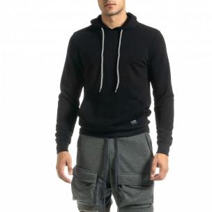 Ανδρικό μαύρο φούτερ Basic με τσέπη καγκουρό