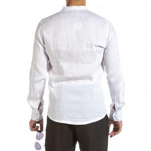 Ανδρικό λευκό λινό πουκάμισο Duca Fashion  2