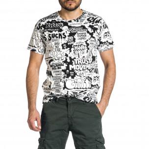 Ανδρική μαύρο και άσπρο κοντομάνικη μπλούζα 2