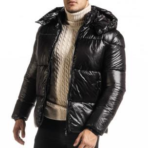 Ανδρικό μαύρο χειμωνιάτικο μπουφάν Duca Homme