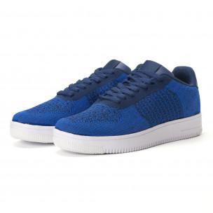 Ανδρικά μπλε sneakers από πλεκτό ύφασμα  2