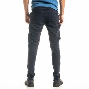 Ανδρικό μπλε παντελόνι cargo σε ίσια γραμμή  2