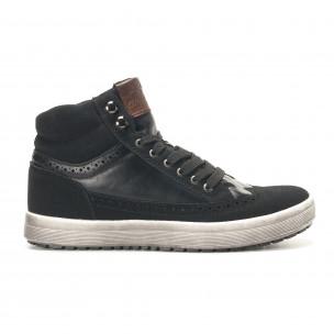 Ανδρικά μαύρα sneakers Montefiori
