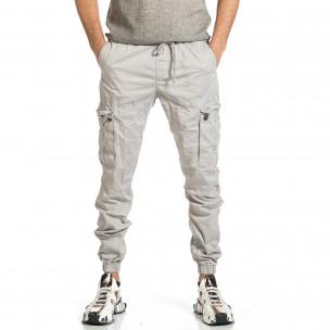 Ανδρικό ανοιχτό γκρι παντελόνι cargo jogger